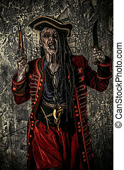 pirate party - Portrait of a noble brave dead pirate. Zombie...
