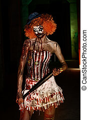 terrible halloween - Evil clown murderer stained in blood....