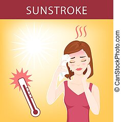 Sun stroke - Young beautiful woman suffers from sunstroke,...