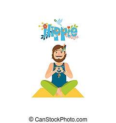 Hippie barefoot man sitting