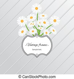 Daisy flowers and vintage label card - Card design with...