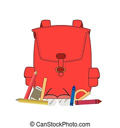 School supplies - Set of different school supplies, Vector...