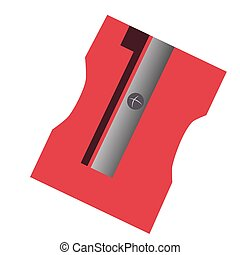 Isolated sharpener - Isolated red sharpener, School supply...
