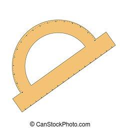 Isolated conveyor - Isolated yellow protractor, School...