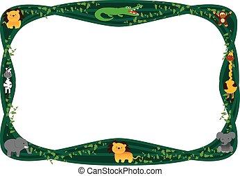 frame jungle animals cartoon