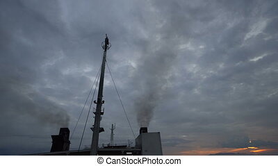 Cruise ship smoke stacks pollution smoke