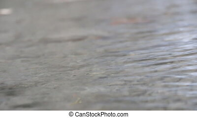 Water flowing over rocks, close up, low angle view