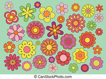 Sixties flowers - Vector illustration of the flowers design...