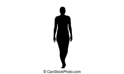 Girl shows the pose eagle with straight arms. Silhouette -...