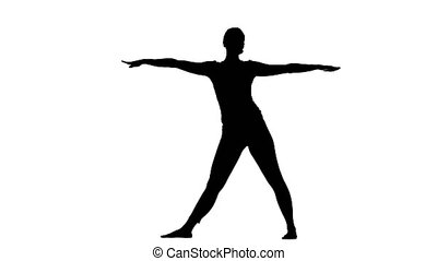 Girl shows the pose triangle. Silhouette - Girl shows the...