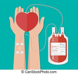 blood bag and hand of donor with heart. donation - blood bag...