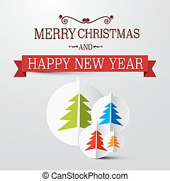 Retro Vector Christmas Card with Trees on Paper