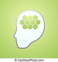 green brain icon - Creative design of green brain icon