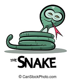 Snake Cartoon - Green Boa or Anaconda Snake with Lick Tongue...