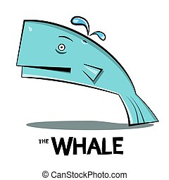 Whale Cartoon. Vector Big Fish Splashing Water Isolated on White Background.