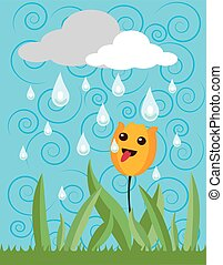thirsty flower - It is a vector illustration in EPS file