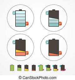 Battery Life Icons Set Isolated on White Background