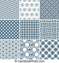 Japanese traditional pattern set Illustration vector