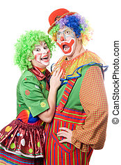 Couple of funny clowns. Isolated