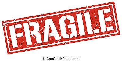 fragile square grunge stamp
