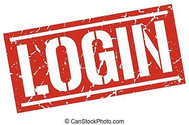 login square grunge stamp