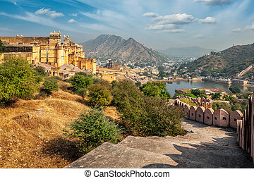 View of Amer (Amber) fort, Rajasthan, India - Indian travel...