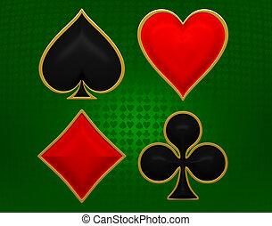卡片, 衣服, 黃金, 取景, 在上方, 綠色