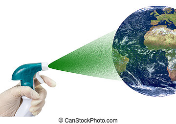 Preserving Planet Earth Concept isolated - Hand in glove is...