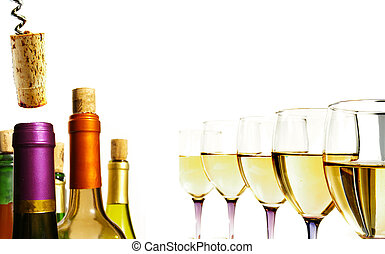 Closeup of white wine glasses in a line, with assorted...