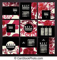 Set of brochure, poster design templates in DNA molecule...