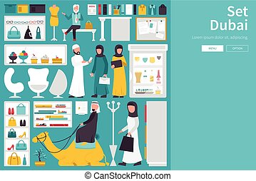 Dubai Big Collection in flat design concept. Furniture and People Set Interior Elements