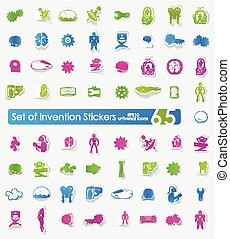 Set of invention stickers - invention vector sticker icons...