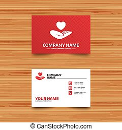Life insurance sign. Hand holds heart. - Business card...