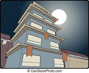 pagoda night illustration - Creative design of pagoda night...