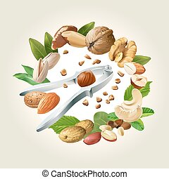 Vector illustration of nutcracker and nuts - cashews,...