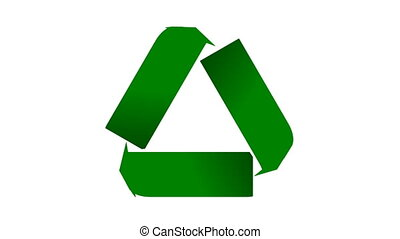 Recycle icon animation with shaded green arrows