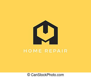 House repair service tool shop sign logotype. Creative idea wrench icon mechanic logo. Negative space symbol.