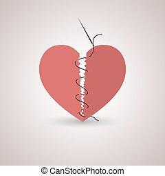 Icon broken heart, vector illustration.
