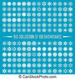 Big collection snowflakes, vector illustration.