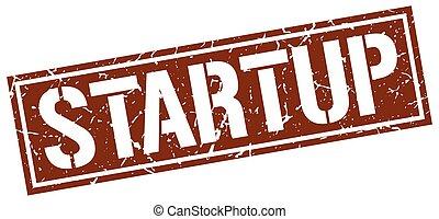 startup square grunge stamp