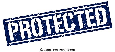 protected square grunge stamp
