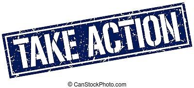 take action square grunge stamp
