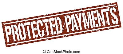 protected payments square grunge stamp