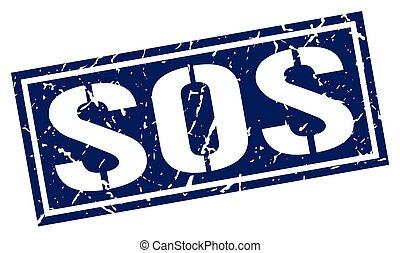 sos square grunge stamp