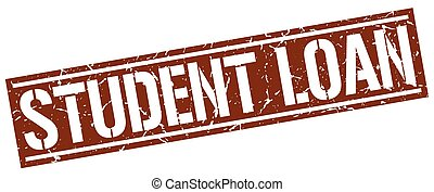 student loan square grunge stamp