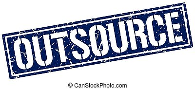 outsource square grunge stamp