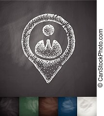 man icon Hand drawn vector illustration Chalkboard Design