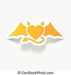 realístico,  element:, diabo, desenho, Coração