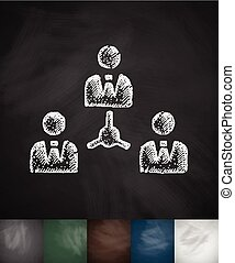 colleagues icon Hand drawn vector illustration Chalkboard...