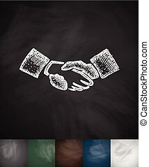 handship icon Hand drawn vector illustration Chalkboard...